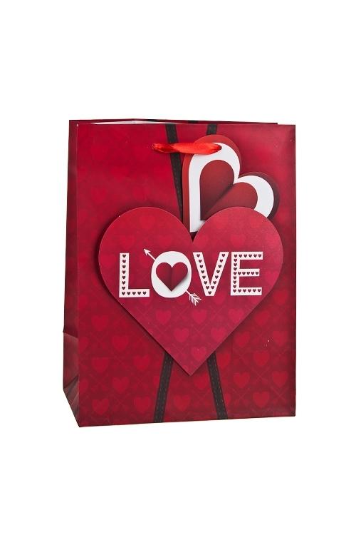 Пакет подарочный Прямо в сердцеСувениры и упаковка<br>19*11.4*25см, бум., матовый, с декором<br>
