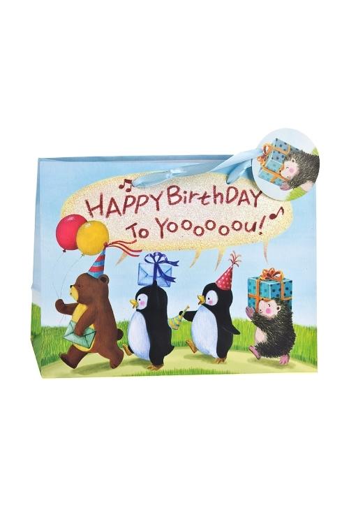 Пакет подарочный Шумная компанияПакеты «С Днем рождения»<br>25*11.4*19см, бум., матовый, с декором<br>