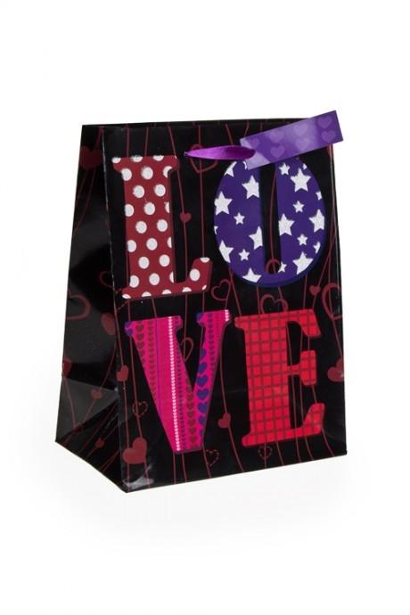 Пакет подарочный Лиловая любовьПакеты про Любовь<br>19*11.4*25см, бум., с декором<br>