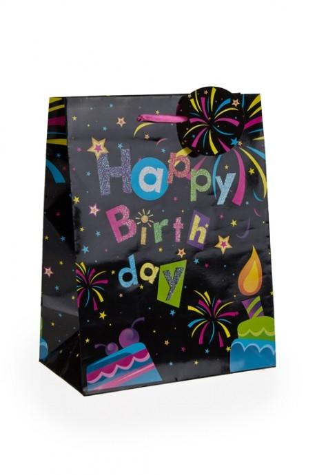 Пакет подарочный Праздничный фейерверкПакеты «С Днем рождения»<br>19*11.4*25см, бум., с декором<br>