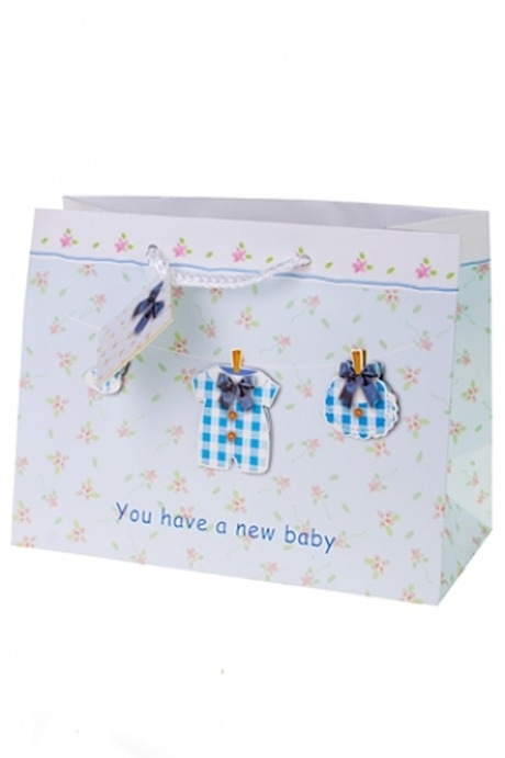 Пакет подарочный Новорожденный малышСувениры и упаковка<br>25*11.4*19см, бум., с декором<br>