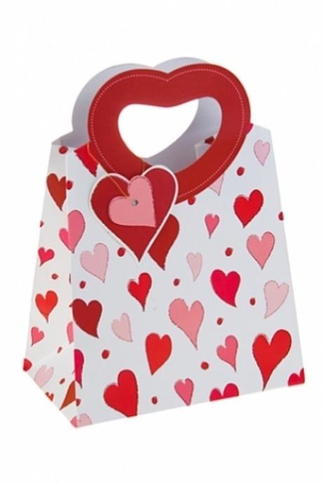 Пакет подарочный Сердца любвиПакеты про Любовь<br>19*11.4*25см, бум., с декором, с резными ручками<br>