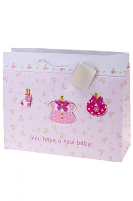 Пакет подарочный Новорожденная малышкаПакеты «С новорожденным»<br>32.4*11.4*26.4см, бум., с декором<br>