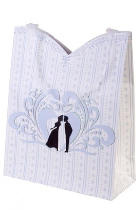 Пакет подарочный Романтический поцелуйПакеты про Любовь<br>26.4*11.4*32.4см, бум., с декором<br>