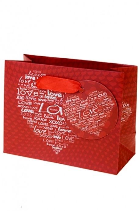Пакет подарочный Цвет любвиПакеты про Любовь<br>14.6*6.4*11.1см, бум., с декором<br>