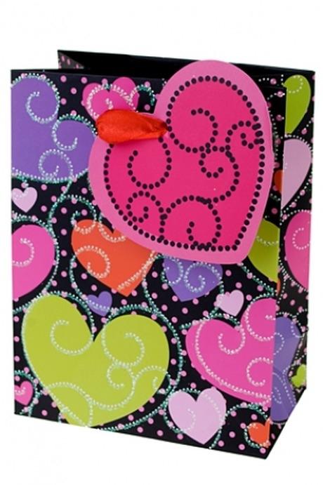 Пакет подарочный Обилие сердецПакеты про Любовь<br>11.1*6.4*14.6см, бум., с декором<br>