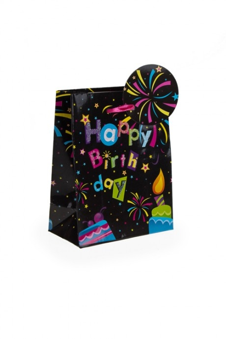 Пакет подарочный Праздничный фейерверкПакеты «С Новым годом и Рождеством»<br>11.1*6.4*14.6см, бум., с декором<br>