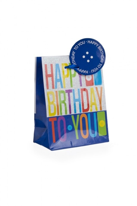 Пакет подарочный Светлые пожеланияПакеты «С Днем рождения»<br>11.1*6.4*14.6см, бум., с декором<br>