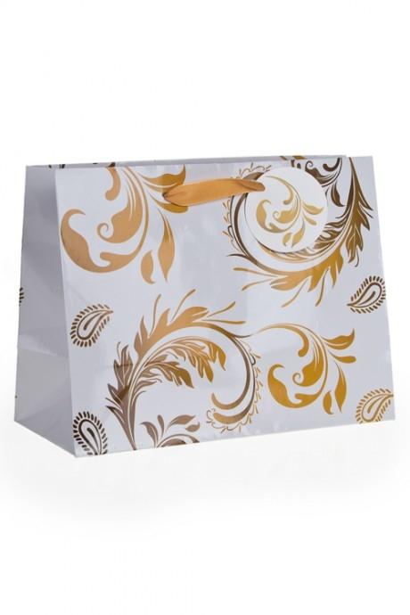 Пакет подарочный Золотой узорСувениры и упаковка<br>40.6*17.8*32.3см, бум.<br>