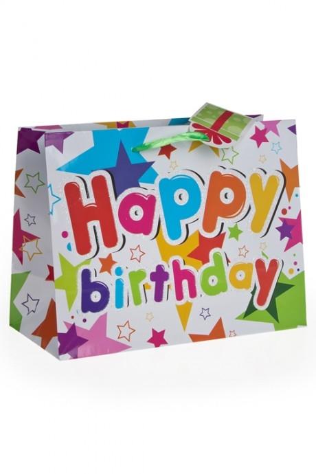Пакет подарочный Праздничная мишураПакеты «С Днем рождения»<br>40.6*17.8*32.3см, бум., с декором<br>