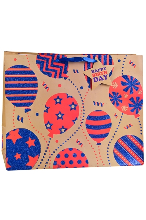 Пакет подарочный Разноцветные шарикиПакеты «С Днем рождения»<br>40.6*17.8*32.3см, бум., матовый, с декором<br>