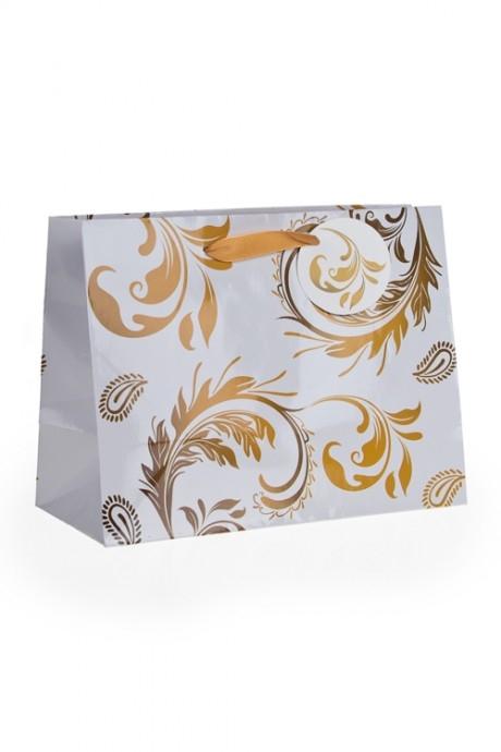 Пакет подарочный Золотой узорПакеты «С Новым годом и Рождеством»<br>32.4*11.4*26.4см, бум.<br>