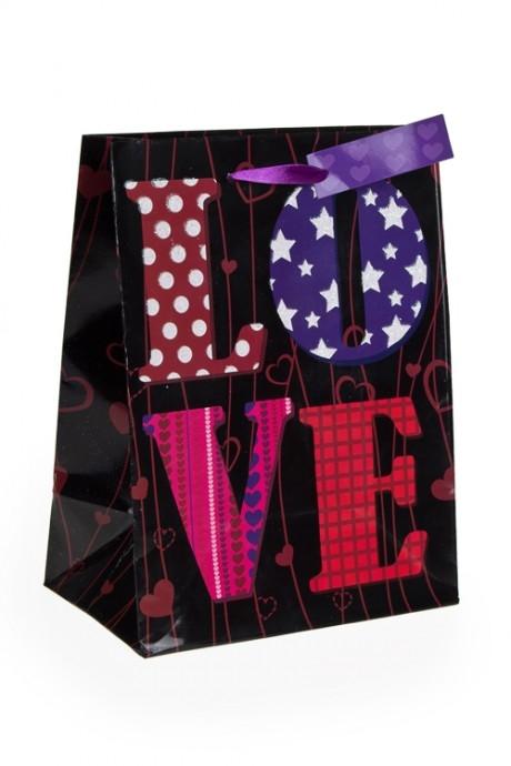 Пакет подарочный Лиловая любовьСувениры и упаковка<br>26.4*11.4*32.4см, бум., с декором<br>