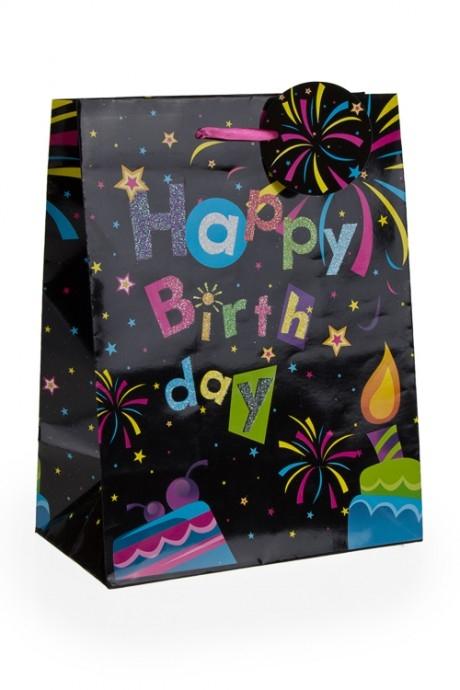 Пакет подарочный Праздничный фейерверкСувениры и упаковка<br>26.4*11.4*32.4см, бум., с декором<br>