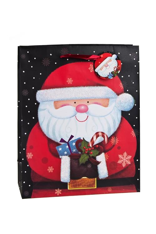 Пакет подарочный новогодний Веселый Дед МорозСувениры и упаковка<br>26.4*11.4*32.4см, бум., матовый, с декором<br>