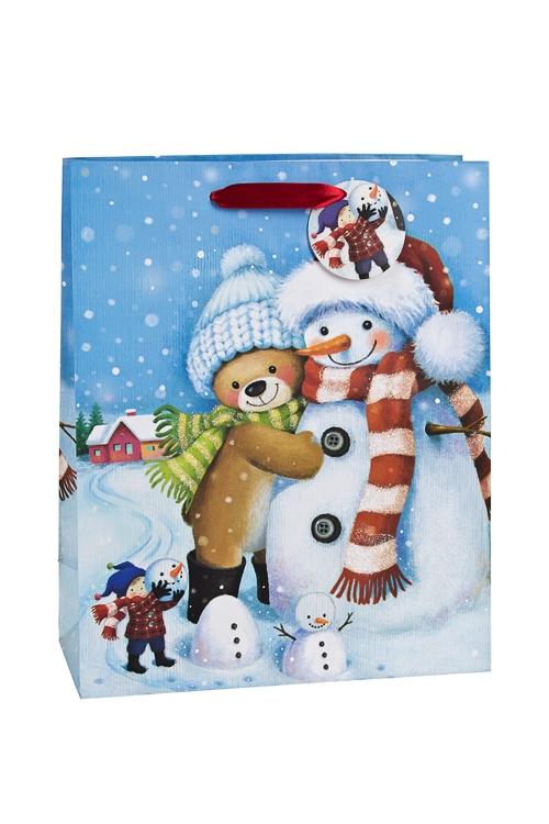 Пакет подарочный новогодний Новогодние объятияСувениры и упаковка<br>26.4*11.4*32.4см, бум., матовый, с декором<br>