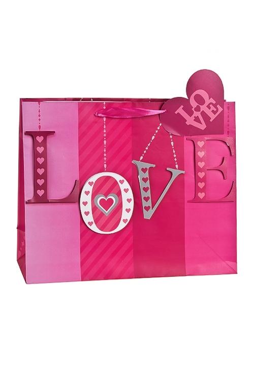 Пакет подарочный Беззаветная любовьСувениры и упаковка<br>32.4*11.4*26.4см, бум., матовый, с декором<br>