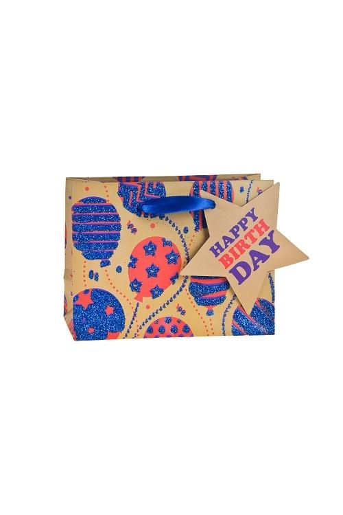 Пакет подарочный Разноцветные шарикиПакеты «С Днем рождения»<br>14.6*6.4*11.1см, бум., матовый, с декором<br>
