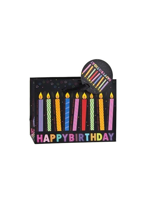 Пакет подарочный Свечи на день рожденияСувениры и упаковка<br>14.6*6.4*11.1см, бум., матовый, с декором<br>