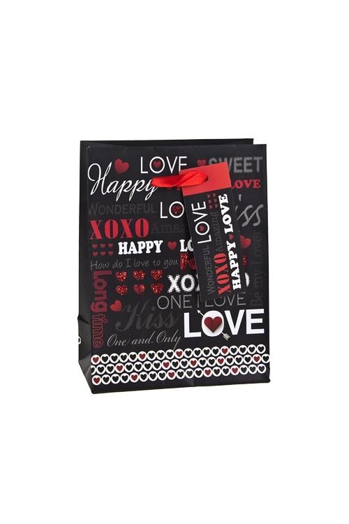 Пакет подарочный ПоцелуиСувениры и упаковка<br>11.1*6.4*14.6см, бум., матовый, с декором<br>