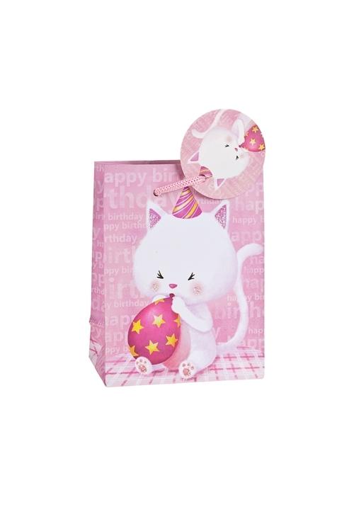 Пакет подарочный Котенок с шарикомСувениры и упаковка<br>11.1*6.4*14.6см, бум., матовый, с декором<br>