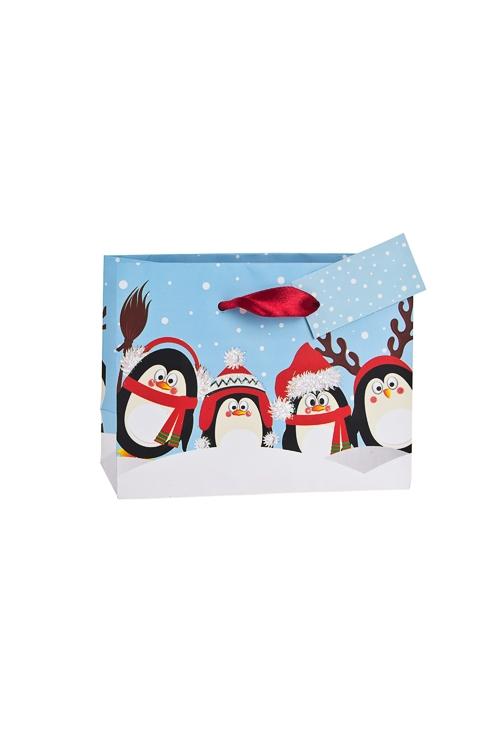 Пакет подарочный новогодний ПингвинчикиПакеты «С Новым годом и Рождеством»<br>14.6*6.4*11.1см, бум., матовый, с декором<br>