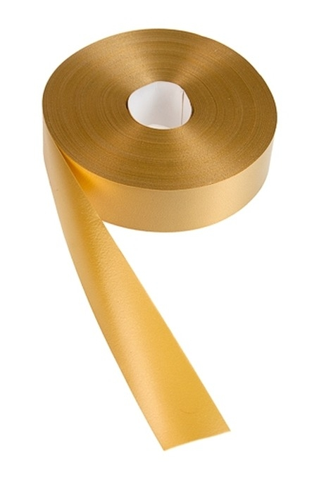 Лента упаковочная ШелкСувениры и упаковка<br>Ш=3см, Дл=100см, золот.<br>