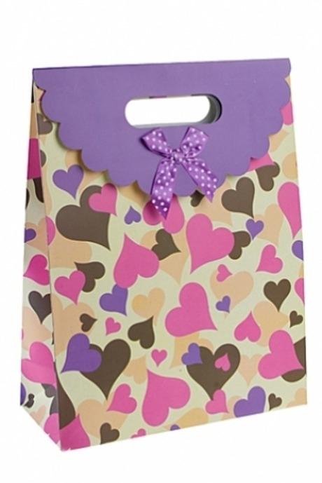 Пакет подарочный Взлетающие сердцаСувениры и упаковка<br>32*24.5*10.5см, бум., с декором<br>