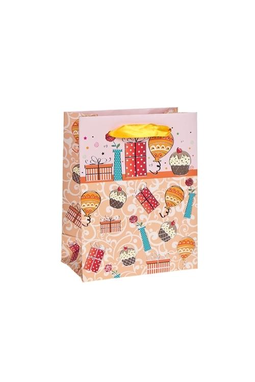 Пакет подарочный Праздничное весельеПакеты «С Днем рождения»<br>11*14*6см, бум., с декором, матовый<br>