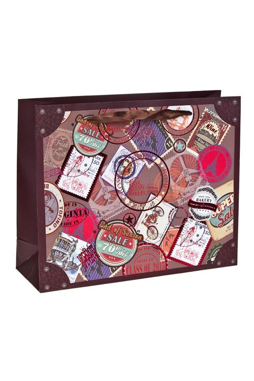 Пакет подарочный Марки со всего светаСувениры и упаковка<br>25*8*20см, бум., с декором, матовый<br>