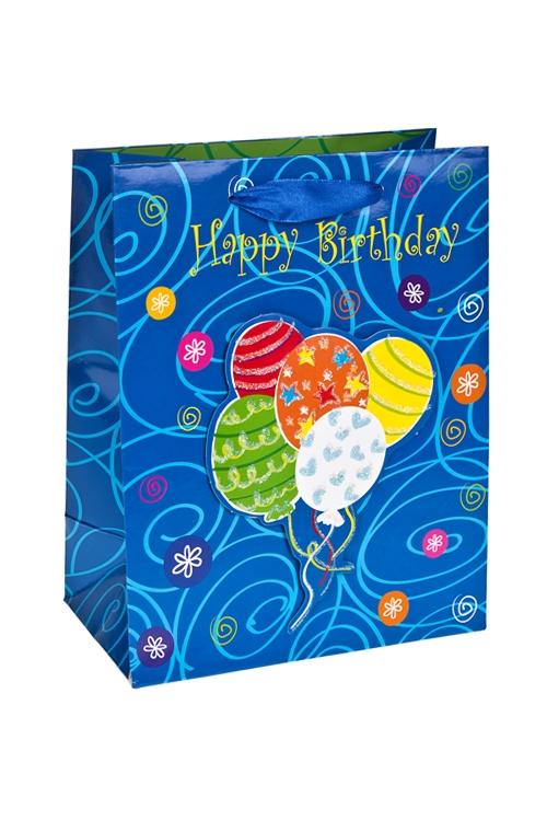 Пакет подарочный Воздушные шарикиСувениры и упаковка<br>18*10*23см, бум., с декором, глянцевый<br>