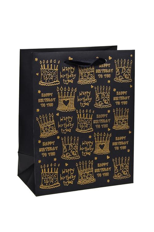 Пакет подарочный ТортикиПакеты «С Днем рождения»<br>18*10*23см, бум., с декором, матовый<br>