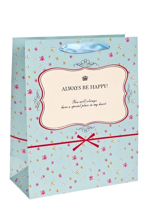 Пакет подарочный Будь счастливСувениры и упаковка<br>26*12*32см, бум., с декором, матовый<br>