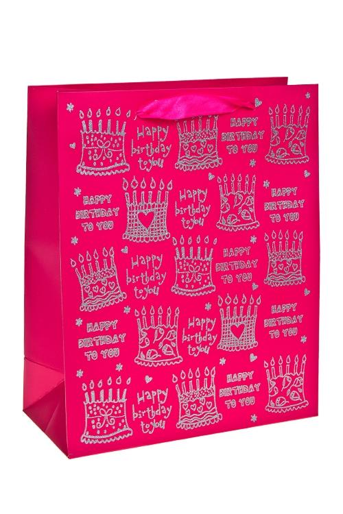 Пакет подарочный ТортикиСувениры и упаковка<br>26*12*32см, бум., с декором, матовый<br>