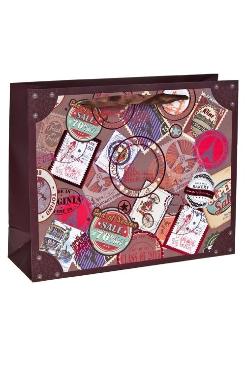 Пакет подарочный Марки со всего светаПакеты на любой повод<br>41*13*31см, бум., с декором, матовый<br>