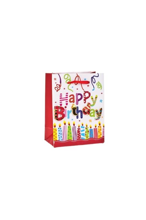 Пакет подарочный Праздничная мишураПодарки на день рождения<br>11*6*14см, бум., с декором, матовый<br>