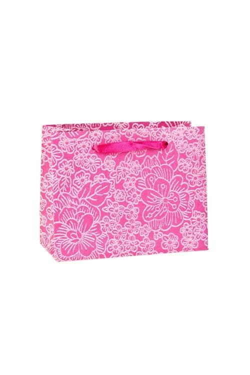 Пакет подарочный Цветочный райСувениры и упаковка<br>14*6*11см, бум., розовый, с декором, матовый<br>