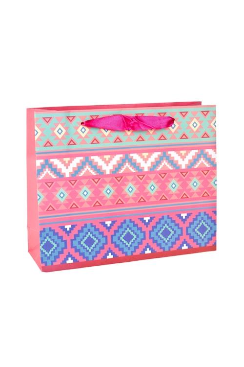 Пакет подарочный Заводной узорПакеты на любой повод<br>25*8*20см, бум., с декором, матовый<br>