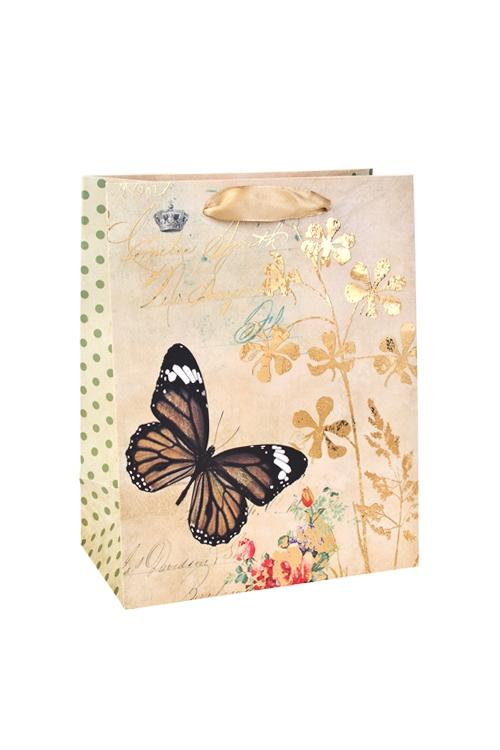 Пакет подарочный Парящая бабочкаСувениры и упаковка<br>18*10*23см, бум., с декором, матовый<br>