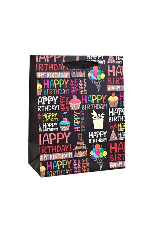 Пакет подарочный Для именинникаСувениры и упаковка<br>18*10*23см, бум., с декором, матовый<br>