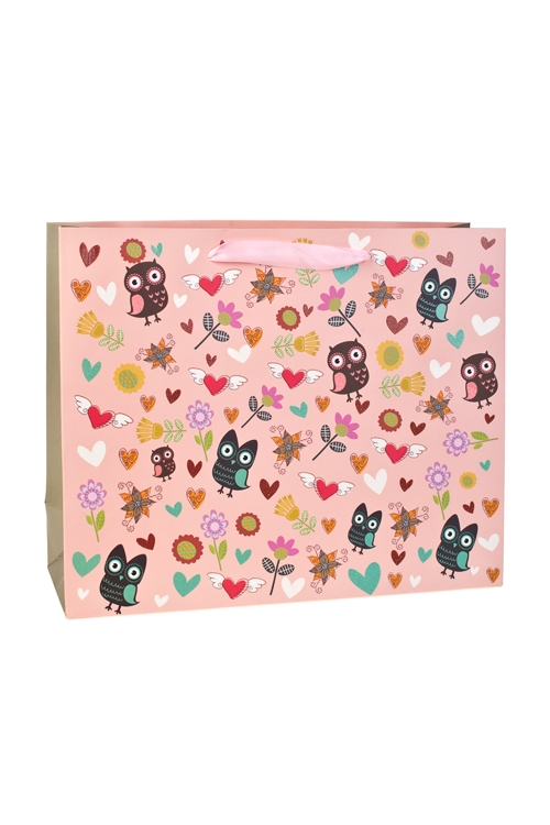 Пакет подарочный Веселые совятаСувениры и упаковка<br>32*11*26см, бум., с декором, матовый<br>