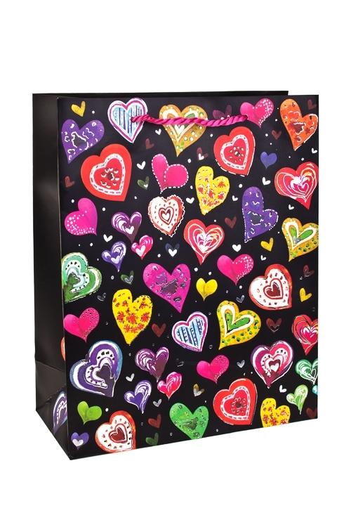 Пакет подарочный Разноцветные сердцаПакеты про Любовь<br>26*12*32см, бум., с декором<br>