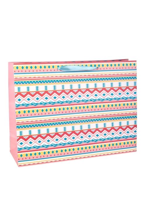 Пакет подарочный Яркий узорСувениры и упаковка<br>41*13*31см, бум., с декором, матовый<br>