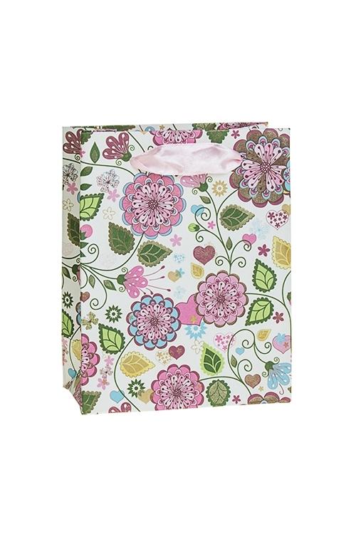 Пакет подарочный ЦветыСувениры и упаковка<br>11*6*14см, бум., с декором, матовый<br>
