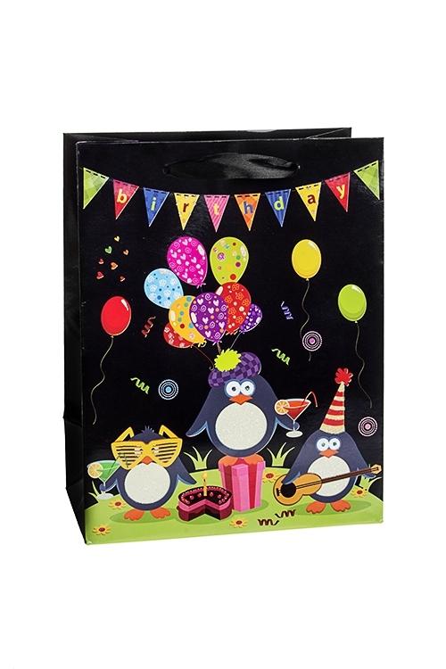 Пакет подарочный Веселые пингвиныСувениры и упаковка<br>18*10*23см, бум., с декором, матовый<br>