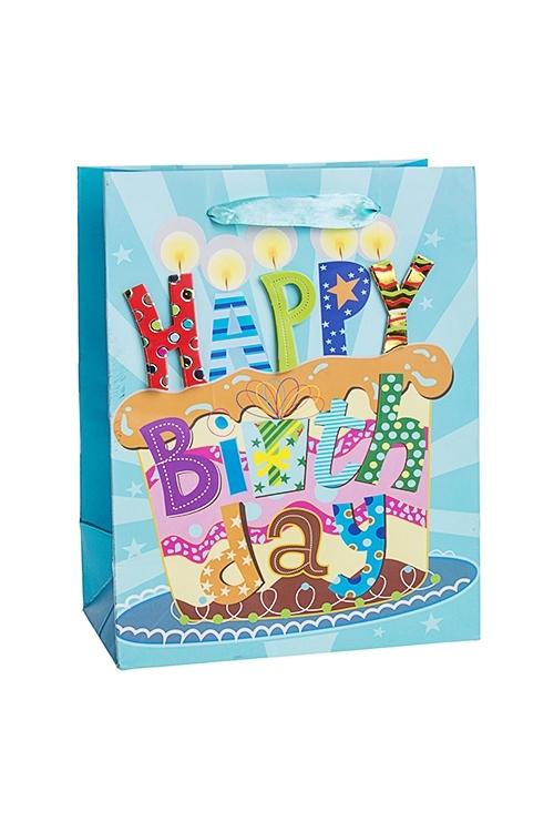 Пакет подарочный Праздничный тортСувениры и упаковка<br>18*10*23см, бум., с декором, матовый<br>