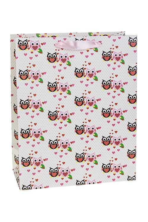 Пакет подарочный Влюбленные совятаСувениры и упаковка<br>26*12*32см, бум., матовый<br>