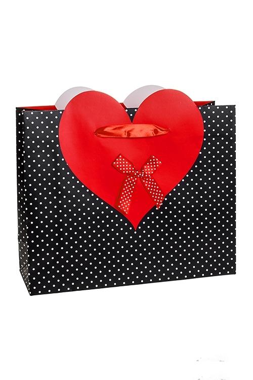 Пакет подарочный Пылкое сердцеСувениры и упаковка<br>32*11*26см, бум., с декором, матовый<br>