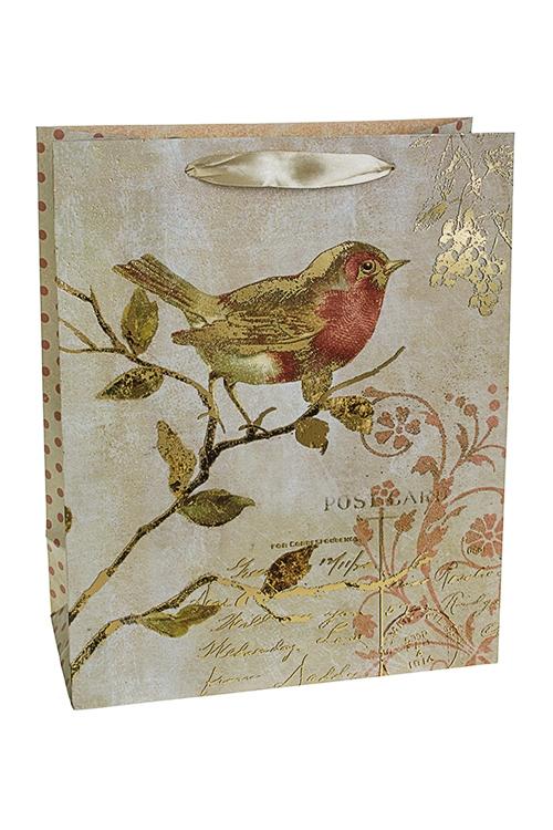 Пакет подарочный ПтичкаСувениры и упаковка<br>26*12*32см, бум., с декором, матовый<br>