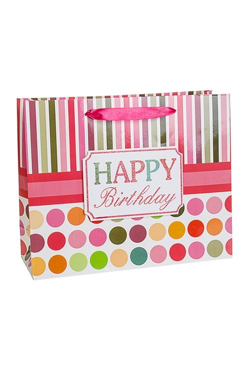 Пакет подарочный Стильное поздравлениеСувениры и упаковка<br>32*11*26см, бум., с декором, матовый<br>